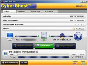 CyberGhost VPN Control Panel